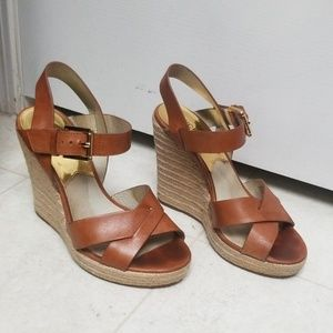 Cognac MICHAEL KORS Leather Sandals Wedges Heels